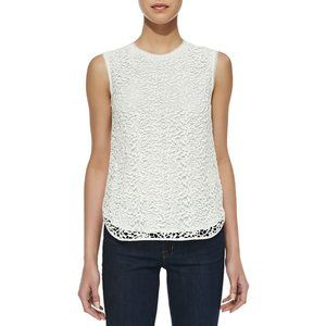 REBECCA TAYLOR white Guipure lace overlay top 2